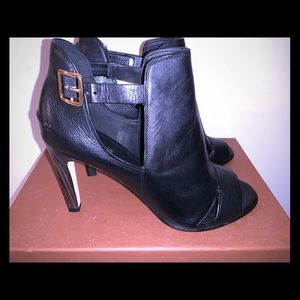 COACH Idena peep toe black booties size 11